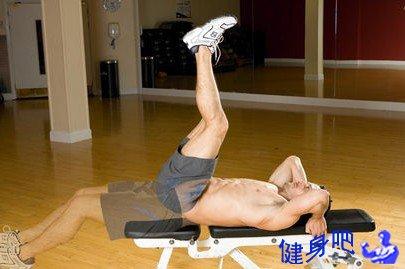 仰卧抬腿:仰卧抬腿运动锻炼腹直肌下部图解教程