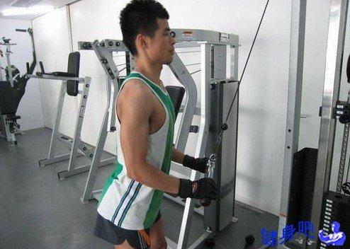 拉力器屈臂下压 - 站姿双臂拉力器屈臂下压动作图解