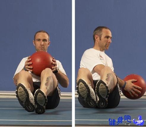 健身球俄罗斯转体练习