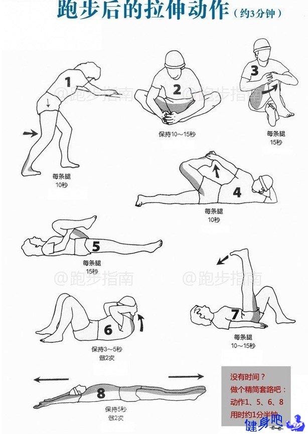 跑步前和跑步后拉伸合集 跑步前的拉伸很重要,对于提高肌肉和核心温度、提高血液流动速度、降低肌肉和关节的粘滞性,为接下来的训练做好心理准备具有很大的作用。 跑步后的拉伸也有利于缓解肌肉僵硬、塑造肌肉线条。 下图汇集了完整的一套跑前跑后的拉伸动作,非常适合各位跑者。 请打开大图收藏吧!