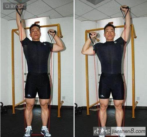 肩部肌肉锻炼方法大全:(弹力绳锻炼肩部)