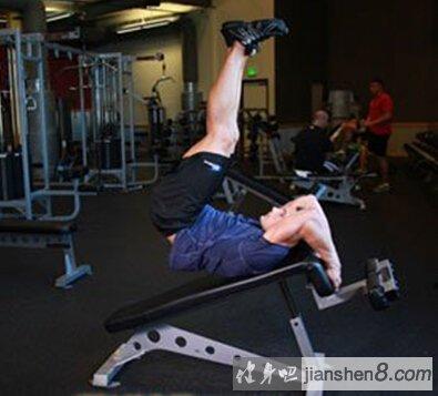 下腹肌锻炼方法——斜板仰卧腿上举技术详解教程