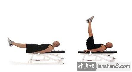 注意事项:   1.动作过程中并拢和绷直双腿,抬起双腿最多也不要超过垂直位置,下背部不要离开板凳,否则背部开始参与用力。   2.复原下放双腿时,不要将其使其触及地面,以保持腹肌持续紧张。   3.不要利用惯性完成动作,放慢速度倚靠腹肌力量来控制   4.增大难度可以双腿夹哑铃;或者在抬腿垂直位置后,进一步垂直向上做举腿的动作。 (注:关注