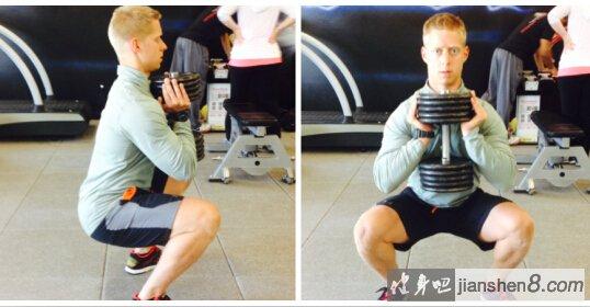 哑铃深蹲的好处在于,可以减少背部的张力,但同样能训练下肢的肌肉。有助于纠正深蹲姿势和发力技巧   针对上身胸椎-肩关节不灵活的人群哑铃胸前深蹲   哑铃深蹲   哑铃胸前深蹲是个非常适合新手的动作。由于背上没有任何压力,在执行上较能避免掉骨盆翻转,或是圆背等问题,能确保你的髋关节及脊椎,在运动过程中是维持在对的位置。    动作要领:   1、双手捧着哑铃,将哑铃摆在胸前,两手内收,肩胛下压放松。双脚与髋关节同宽,脚尖朝前(或微微外八),重点应是下蹲时,膝盖与脚尖同方向。   2.