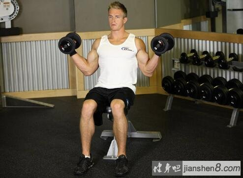 坐姿哑铃交替弯举_肱二头肌锻炼方法:坐姿哑铃开肘弯举_健身吧